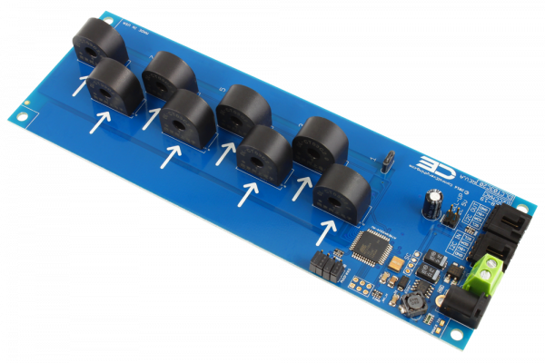 8-Channel On-Board 95% Accuracy 20-Amp AC Current Monitor with I2C Interface