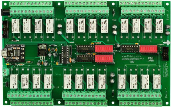 Industrial Relay Controller Board 24-Channel DPDT + UXP Expansion Port