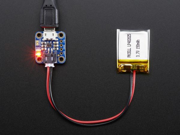 Adafruit Micro Lipo w-MicroUSB Jack - USB LiIon-LiPoly charger - v1