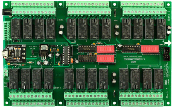 Industrial Relay Controller 24-Channel DPDT + 8-Channel ADC