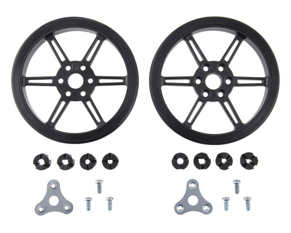 Pololu Multi-Hub Wheel w/Inserts for 3mm and 4mm Shafts - 80×10mm, Black, 2-Pack