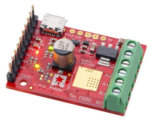 Tic T500 USB Multi-Interface Stepper Motor Controller (Connectors Soldered)