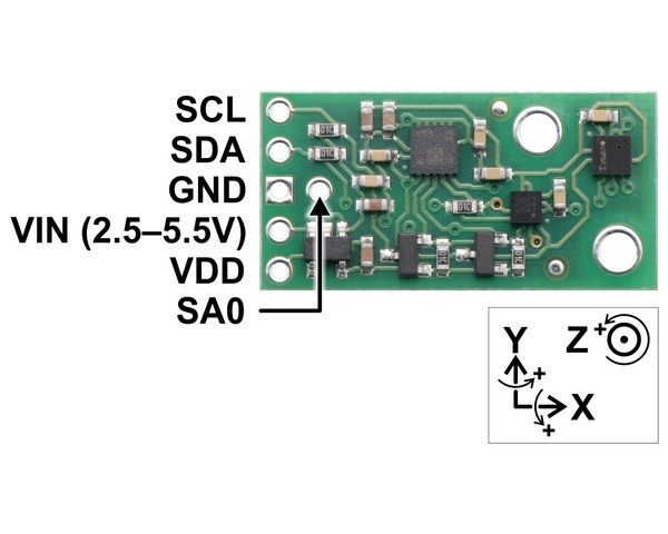 AltIMU-10 v5 Gyro, Accelerometer, Compass, and Altimeter (LSM6DS33, LIS3MDL, and LPS25H Carrier)