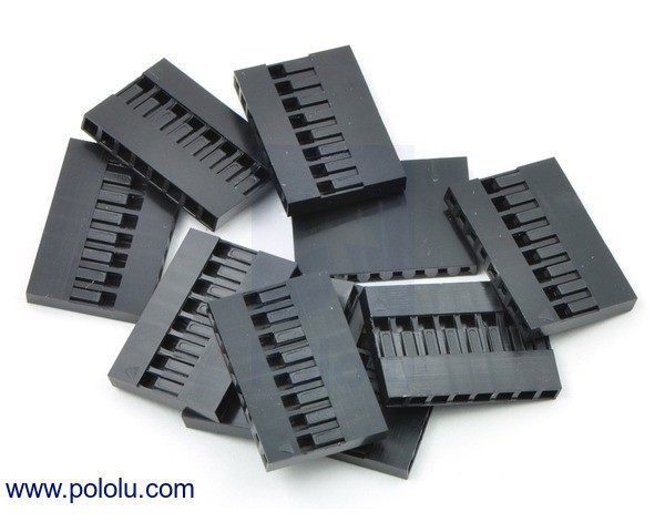 """0.1"""" (2.54mm) Crimp Connector Housing: 1x8-Pin 10-Pack"""