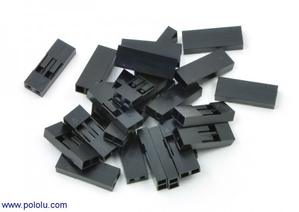 """0.1"""" (2.54mm) Crimp Connector Housing: 1x2-Pin 25-Pack"""