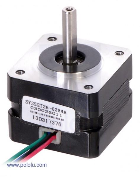 Stepper Motor: Bipolar, 200 Steps/Rev, 35×26mm, 7.4V, 0.28 A/Phase